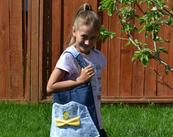 Tweety Bird Tote Bag Purse, upcycled big pocket floral blue navy flowers yellow fleece bow 14 in. deep, girls back to school Summer kids