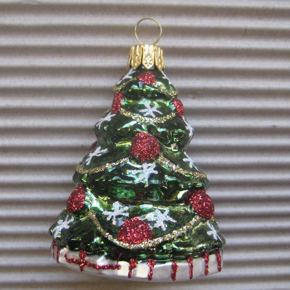 Hand Blown Glass Christmas Tree Ornaments : Vintage christmas ornament tree hand blown glass