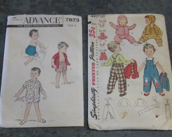 2 Vintage Advance & Simplicity Patterns for Toddlers 1950 Era