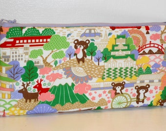 Padded Pencil Case / Vacation Bears Cosmetic Bag / Kawaii Clutch Purse / Craft Supply Storage / Handbag Organzer - Other Colors Available
