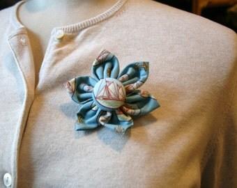 Blue Sailing Theme Fabric Flower Brooch, Flower Pin - Handmade Fabric Flower