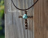 Wire Cross Pendant Necklace with Turquoise Nugget