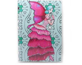 Fairy Passport Cover - Victorian Rose Fairy - passport holder - pink and aqua - women's travel accessory