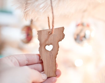 Vermont State Ornament - I heart Vermont - Bamboo Ornament Vermont Ornament Tree Ornament