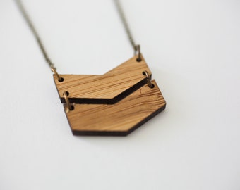 Double Chevron Necklace - Wooden Chevron Necklace Bamboo Chevron Necklace V Necklace Charm Chevron Pendant Trendy Jewelry Dainty Necklace
