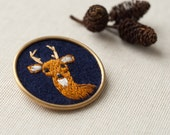Deer Jewelry - Embroidered Buck Brooch - Pin - Game of Thrones - Woodland Animal - Stag - Fiber Jewelry - Navy Blue