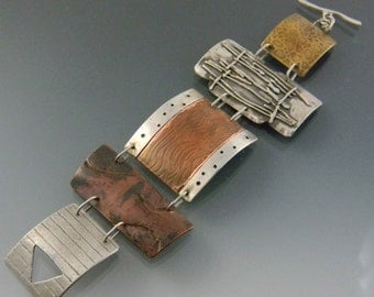mixed metal mosaic bracelet
