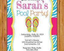 Pool Party Zebra Print, Birthday Party Invitation Flip Flops Blue Zebra Print Printable 5x7 Digital JPG File (19)
