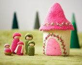 Doll house with family felted wool house wood peg dolls dark pink ready to ship