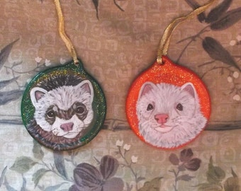 Ferret Custom hand Painted Christmas Ornament Decoration