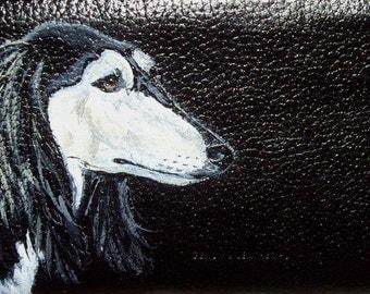 Saluki Dog Custom Hand Painted Women's Leather Wallet Vegan