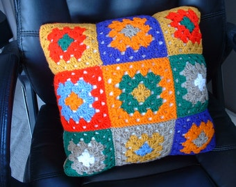 Handmade Crocheted 16-Inch-Square GRANNY SQUARE PILLOW