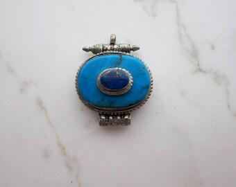 Tribal Pendant Blue Lapis Lazuli Turquoise Stacked Stones - Ethnic Boho Jewelry - Double Bail Gemstone Pendant