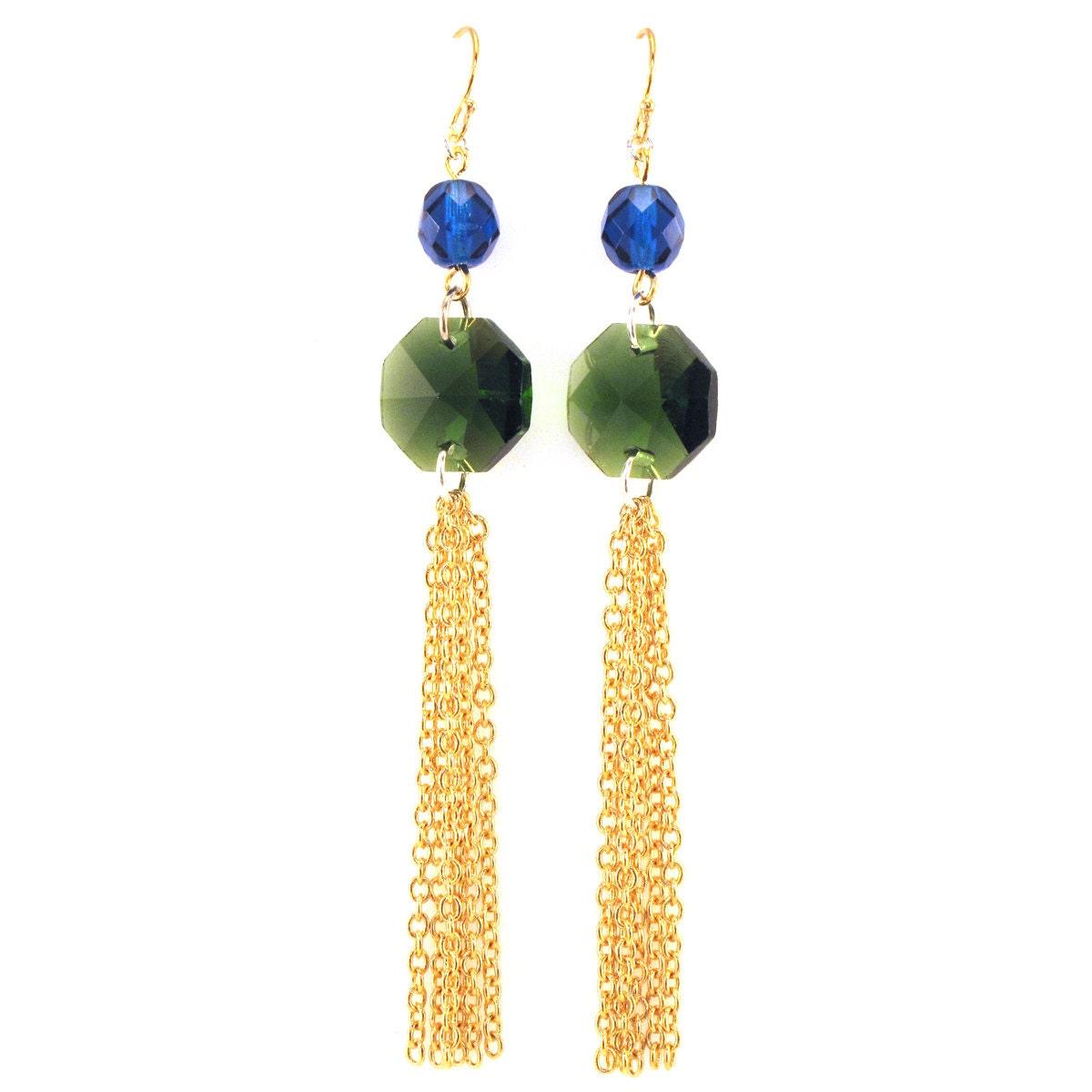 emerald green tassel earrings statement earrings by manictrout