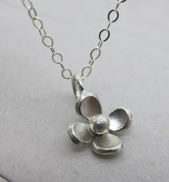 Petite Flower Necklace - sterling silver necklace by Kathryn Riechert