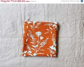 FINAL SALE - Modern Orange and Aqua Floral Zip Pouch Pencil Case Bag