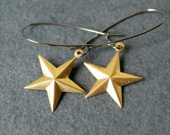 Star Earrings - Brass Star Earrings - Gold Star Earrings - Star Jewelry - nautical stars - Celestial Fashion - boho chic