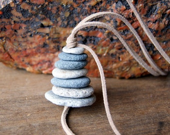 Cairn Beach Stone Necklace, Cairn Necklace, stacked stones, beach pebble necklace, tan faux suede cord, zen, spiritual, boho chic