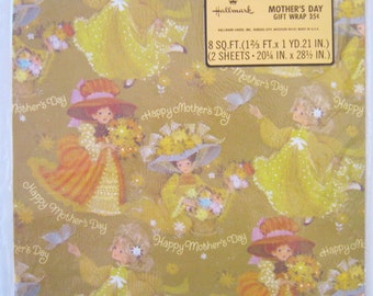 Vintage 70s Hallmark Gift Wrap Wrapping Paper Girls Flowers Mothers Day SEALED