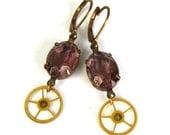 """Steampunk Earrings """"GEARRINGS"""" in Pale Purple and Brass by Nouveau Motley FEATURED in Dark Beauty Magazine -"""