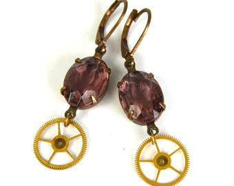"CLEARANCE 50% OFF Steampunk Earrings ""Gearrings"" in Pale Amethyst Purple and Brass FEATURED in Dark Beauty Magazine -"