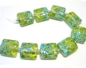 Land to Sea Nuggets Handmade Glass Lampwork Beads