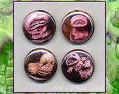Pickled Punks, 5 button set, monster freaks in jars, outsider lowbrow art
