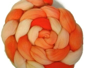 Handpainted Superfine Merino Wool Roving  - 4 oz. SHADES of Tangerine - Spinning Fiber