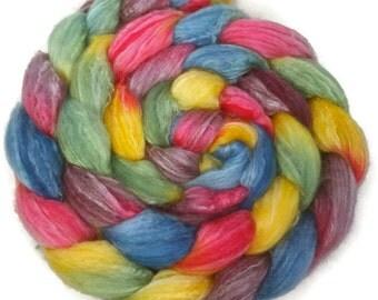 Handpainted Merino Bamboo Silk Roving - 4 oz. ARCADE - Spinning Fiber