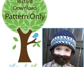 Instant Download- Pattern for Crochet Bearded Beanie size 0-6mo