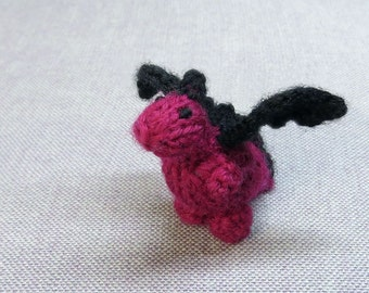 Tiny Heather the Dragon - Knitted and Crocheted