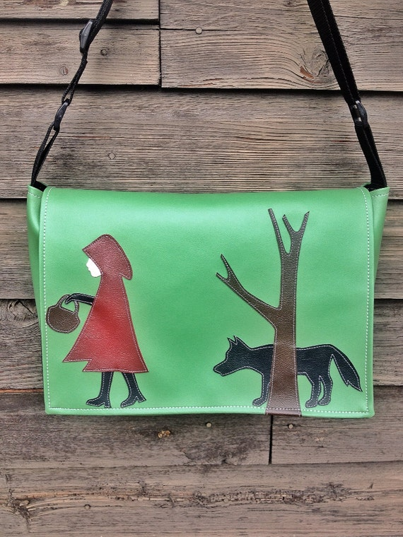 Red Riding Hood and the Wolf Green Vinyl Messenger Bag