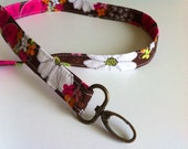 Pink and brown floral Fabric Lanyard Keychain Badge Holder