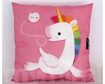 "16 x 16"" Decorative Pillow, Rainbow Unicorn, Unicorn Pillow, Pegasus, Pink Pillow, Children's Pillow, Kawaii, Girls Room Decor, Toys"