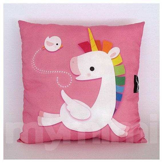 "16 x 16"" Decorative Pillow, Rainbow Unicorn, Unicorn Pillow, Pegasus, Pink Pillow, Children's Pillow, Kawaii, Girls Room Decor, Toys"