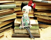 Alice - Alice In Wonderland Mixed Media Soft Fabric Art Doll by Danita Art - Approx 12 Inches Tall.