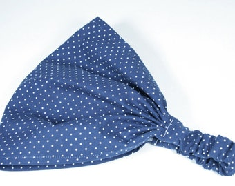 Womens Navy Blue with White Pin Dot Headscarf