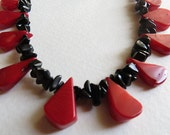 Red Coral and Black Onyx Necklace with Sterling Silver, Handmade Jewelry, Statteam