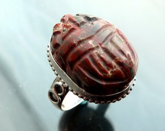 Scarab Gemstone Beetle Ring Custom made in your size sterling silver 7 8 9