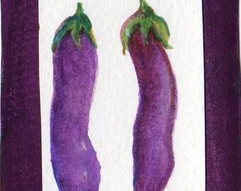 Eggplants ACEO original watercolor collage painting,  small vegetable art card, Aubergine kitchen decor, SharonFosterArt, SharonFosterArt