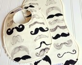 Baby Bib & Burp Cloth Set  -  Super Absorbent Chenille - Triple Layer Design  -  Where's My Stache Mustache