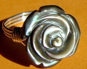 Big Mother of Pearl Flower Ring Iridescent Carved Flower Black Mother of Pearl Gemstone Ring Wire Wrapped in Sterling Silver