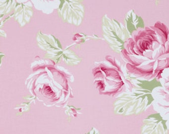 SALE!  Full Bloom Rose Roses in Pink Sunshine Rose by Tanya Whelan Fabric  - 1 Yard Cotton Quilt Fashion Fabric