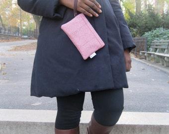 Pink Wool Tweed Wristlet Wallet, Cell Phone Wallet, Zipper Wallet Wristlet, Wristlet Purse, Small Wristlet