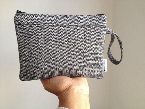 Custom Order for Lindsay P. - Black Wool Tweed Rawen Wristlet Wallet