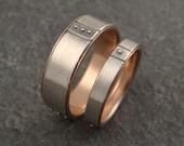 Wedding Band Set - Sterling Wedding Rings w/ 14k Rose Gold Lining and 14k Gold Granules