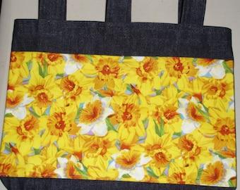 New Handmade Denim Walker Bag Daffodil Spring Flower Theme