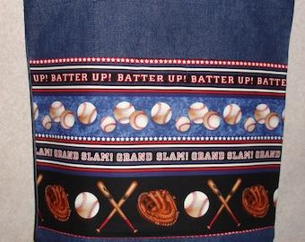 New Large Handmade  Batter Up Baseball Theme Denim Tote Bag