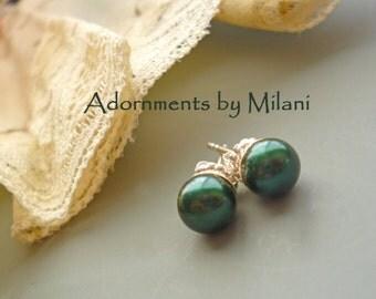 Dark Green Earrings Pearl Post Stud Bridemaids Sterling Silver Small - Hunter