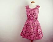 Pink floral print summer dress skater dress rose print size large UK 14-16